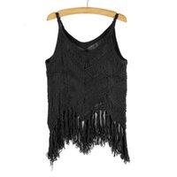 Wholesale Crochet Tassel Tank Top - Wholesale- Women Crochet V-neck Vest Spaghetti Strap Tassel Tank Tops Blouse Crop Tops