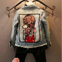 Wholesale Children Clothing Girls Denim Jacket - 1-12Yrs Baby Girls Hole Denim Jackets Coats Fashion Children Outwear Coat Sequins Little Girl Design Girls Kids Denim Jacket clothes