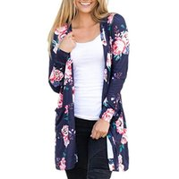 Wholesale Ethnic Tunics - Autumn Plus Size Women T-Shirt Tunic Tops With Long Sleeve Ethnic Floral Print Elegant Beach T Shirts Tops In White Pink Woman Clothes