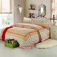 Wholesale Classic Bedding Sets - 100% Cotton simple classic plaid bed sheet and pillowcases set cool and breath freely free shipping