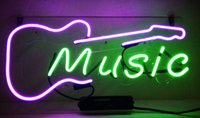 """Wholesale Bar Electric Guitar - New Acoustic Electric Guitar Music Glass Neon Sign Light Beer Bar Pub Arts Crafts Gifts Lighting Size 22"""""""