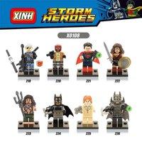Wholesale Bat Superman - 120pcs Mix Lot Super Heroes Series Minifig Terminator Superman Red Hood Wonder Woman Bat XINH X0108 Mini Building Blocks Figures