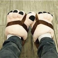 zapatos de los pies de la novedad al por mayor-Unisex divertidos dibujos animados dedos de los pies grandes pies de terciopelo antideslizante cálidos suaves zapatillas de algodón zapatos de interior del hogar novedad regalo zapatos para adultos
