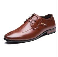 zapatos únicos para hombre de diseño al por mayor-Zapatos de boda de los más nuevos hombres para hombre Diseño puntiagudo Zapatos de cuero Únicos Hombres Zapatos casuales con cordones Oxford Zapatos formales de noche