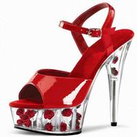 Wholesale High Heels Platform Rose - Customize Women Classic Sandals Vintage Design Rose Bottom Open Toe Summer Dance Shoes Thick High Heels Platform Party Sandals D0114