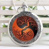Atacado-Vintage Charm Wearable Art Yin Yang Tree Stained Glass Punk Pocket Watch Chain