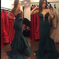 Wholesale Beautiful Silk Dresses - Beautiful Layers Dark Green Evening Dresses 2017 Stretch Satin New Sweetheart Mermaid Prom Gowns Sleeveless Party Dresses
