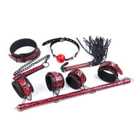 Wholesale Collar Spreader Cuff - 4-in-1 Bondage Kit BDSM Gear Slut Restraints Spanking Whip Mouth Gag Collar Handcuffs Hand Ankle Spreader Cuffs Black Red gn332010052