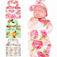 Wholesale Baby Headbands New - Retail 2017 New Newborn Baby Floral Receiving Blankets Swaddling Cotton Blankets With Headband Photography props 90*90cm PJ008