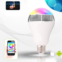 Wholesale Android Speaker Docking - Wholesale- Newest Smart LED Bulb Light Wireless Bluetooth Speaker Lamp Audio Loudspeaker for Android IOS iPhone iPad