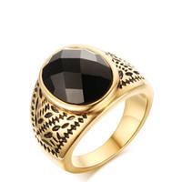großer schwarzer onyx großhandel-Meaeguet BIG Black Onyx Ring Fancy schneiden GemGold Farbe Ringe Party Gent Schmuck Geschenk Größe 9 bis 11 RC-259