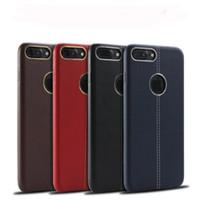 cajas del teléfono celular de cuero rojo al por mayor-Para Red iphone 7 7plus Funda de piel suave de cuero cosido con caja de anillo de metal TPU Funda de móvil para Iphone 6 6s Plus