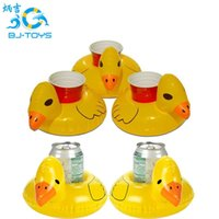 Wholesale Duck Bar - Inflat Cup Holder Inflatable Coasters Duck Cups Holders Floating Bar Coaster Small Yellow Ducks Cute Popular 1 5bj