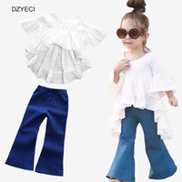 Wholesale Denim Shirts For Girls - Summer Boutique Outfits For Baby Girl Set Clothes Fashion Kid White Shirt Dress+Jeans Denim Pant 2pcs Suit Tracksuit Children Clothes