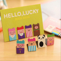 Wholesale Paper Clip Set - Wholesale- 4 Pcs set Cartoon Kawaii Stationery Bronze Magnetic Bookmark Book Mark Clips For Office Teacher Gift Kids School Office Supplies