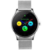 arc android großhandel-Herzfrequenz Bluetooth Smart Uhr Waterpfoof Smartwatch Remote Kamera für Android iOS Stahlband Sport Armbanduhren 2.5D Arc Screen K88H