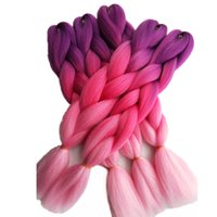 Purple Pink 2Tone Ombre Jumbo Braiding Hair Extensions 5packs / lot 24