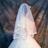 Wholesale Make Wedding Headpieces - New Arrival Wedding Veils And Headpieces Free Shipping Sheer Tulle Butterfly Applique Elbow Length Cheap Custom Made Bridal Veil