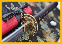 Wholesale Antique Japanese Swords - COLLECTION SWORD for decorate Full Tang Authentic Handmade Folded Steel 1075&1060 Damascus Steel Japanese Dragon Samurai Katana Sword #102