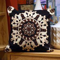 patrones de caja de tela al por mayor-Patrón de bordado estilo asiático funda de cojín cuadrado flor imagen funda de almohada 45 cm * 45 cm tela de algodón sofá decoración estilo clásico hogar