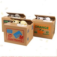 Wholesale stealing money cat online - Creative Piggy Bank Itazura Cat Steal Money Coin Box Electric Super cute Different Styles Square Boxes Gift Hot Sell ac J1 R