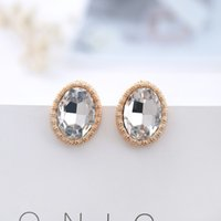 Wholesale Wholesale Indian Earings - New Gold silver fashion of high-end oval glass ear clip girl gifts crystal earrings jewelry clip earings for non pierced ears