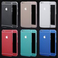 Wholesale Carbon Sticker For Mobile Phones - cell phone skin mobile phone full body sticker for iphone 7 6 5s plus sumsung pu leather carbon fiber style