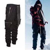 Wholesale Casual Baggy Trousers Men - 2017 fashion loose Long Pant Men Cargo Pants Baggy Jogger Trousers Fashion Fitted Bottoms streetwear hiphop Pocket pant black