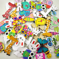 Wholesale wooden buttons wholesale - Wooden Buttons cartoon animal mixed for handmade Gift Box Scrapbooking Crafts Party Decoration DIY Sewing draw