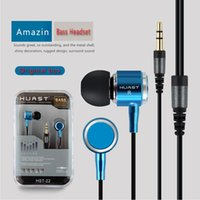 ingrosso auricolari pesanti-HST-22 Wired 3.5 MM jack In-Ear Earphone Metallo Heavy Bass Musica di qualità del suono Auricolare HIFI Auricolari per MP3 / MP4 iphone 6 6s 7