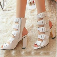 Wholesale Ladies Shoes Zipper - US5-9 Gladiator 2017 new Style Summer women's high heels Buckle Strap sandals ladies celebrity Party Zipper shoes woman Black White