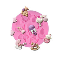Wholesale Horse Mold - 7.8*7.8*1cm 3D Baby Horse Bear Silicone Cake Mold Turn Sugar Cake Mold Cupcake Jelly Candy Chocolate Decoration