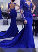 Wholesale custom decals for sale - Group buy Royalblue Evening Dresses Mermaid with One Sleeve Sheer Jewel Neck Backless Prom Dresses Beaded Lace Decals Formal Evening Gowns