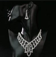 Wholesale Wedding Jewelry Sets For Cheap - 2017 Amazing Shinny Bridal Jewelry Rhinestone Crystal Luxury Necklace Earring Jewelry Set For Wedding Party Evening Cheap In Stock