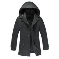 männer schmaler wollmantel groihandel-Mode herren herbst winter verdicken warme mantel umlegekragen wollmischung männer mit kapuze pea coat slim fit einreiher