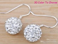 W2422 Livraison gratuite! Plaque en argent 10MM blanc Cheap best Clay Disco Ball Bead Hip Hop Rhinestone shamballa crystal Drop Earrings r62