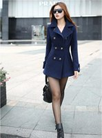Wholesale Casual Trench Coats - 2016 New Winter Cheap Women Trench Woolen Coat Winter Slim Double Breasted Overcoat Winter Coats Casual Long Wool Outerwear for Women