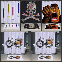Wholesale Mouth Shower - 32cc Skeleton Big Mouth Puppet Cartoon Shower Curtain Printing Polyester Flower Pattern Bathroom Showers Curtains Upscale Large Version