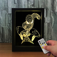 3D Spiderman LED Photo Frame Decoration Lamp IR Remote 7 RGB Lights DC 5V Factory Wholesale Drop Shipping