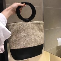 Wholesale Large Straw Bags - Summer tote 2017 round wooden handle women's handbags large straw beach bag clutch patchwork Leather hand bag designer purse