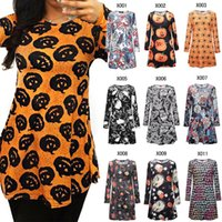 Wholesale women pumpkin - high qualitysweaters Women girls Elegant Chrismas Halloween pumpkin skull Mini Dress Long Sleeve Bodycon skull Skeleton Spring Party Dresses