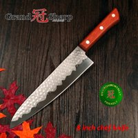 "Wholesale Chinese Kitchen Knives - GRANDSHARP 8"" inch Chef Knife German Stainless Steel 1.4116 Hammered Blade Pakka Handle Kitchen knife Super Sharp FREE SHIPPING"
