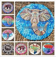 Wholesale baby bath cloth - 14 Designs Polyester Mandala Blankets Elephant Beach Towel Elephant Yoga Mat Table Cloth Towel Shawls CCA5848 60pcs