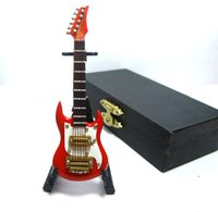 Wholesale Electric Music Playing - 1 12 scale Acoustic Musical Instrument Dollhouse Miniature Furniture Mini Electric 6-String Guitar Music Figure play toy with Case Support