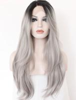 ingrosso parrucche di pizzo grigio argento-Parrucca anteriore in pizzo sintetico grigio 2 toni parrucca Radici scure Lunghe parrucche diritte naturali grigie argentate per capelli per donne resistenti al calore