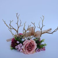 Wholesale Mori Wedding - Woman headdress hair Mori antlers wreath flowers Fairy Queen Tiara Crown bride wedding photography accessories exaggerated hair