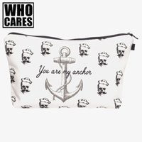 Wholesale pirates makeup - Wholesale- Pirates anchor 3D Printing makeup bag women neceser bolsos mujer de marca famosa 2016 New cosmetic bag bolsa neceser maquillaje