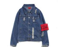 chaqueta 424 kanye west al por mayor-424 Chaquetas de los hombres Europa y los Estados Unidos marca marea camisa de mezclilla otoño Kanye OESTE el mismo párrafo mezclilla chaqueta pareja hombre y mujer
