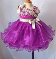 Wholesale hot pink toddler dress - Hot Sale Newest Mini Short Tutu Flower Girl Dresses Beaded Organza Toddler Pageant Dress Kids Party Dresses