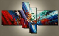 boyalı tuval sanat seti toptan satış-Çağdaş Sanat Çoklu 4 Parça Setleri Modern Soyut yağlıboya Tuval Üzerine Handpainted Modern Ev Ofis Otel Duvar Sanatı Dekor Hediye ab36